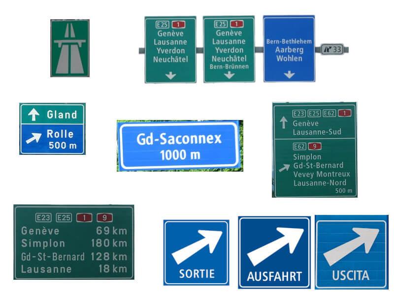 Certains panneau que l'on trouve sur nos autoroutes