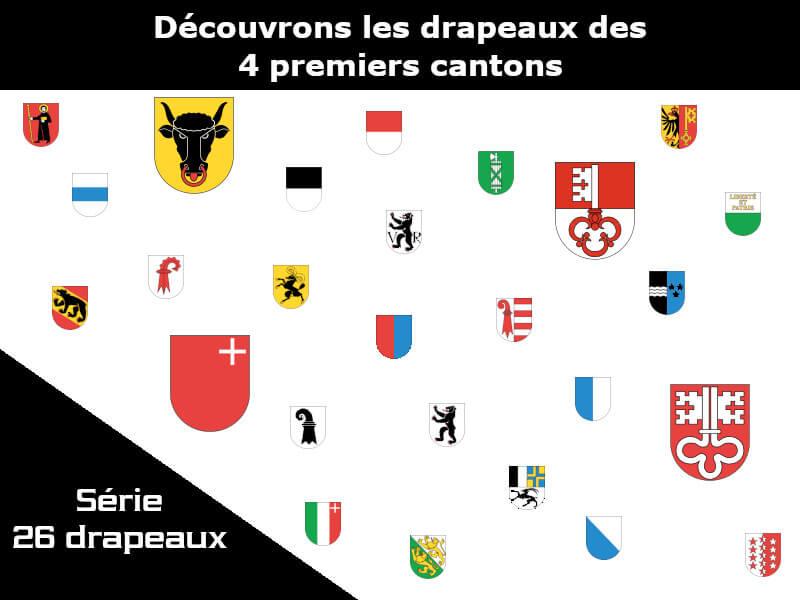 Vignette - les drapeaux des 4 premiers cantons Uri - Schwytz - Unterwald