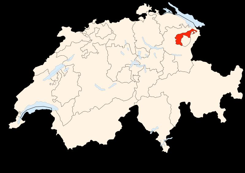 Carte Suisse - Situation d'Appenzell Rhodes-Extérieurs