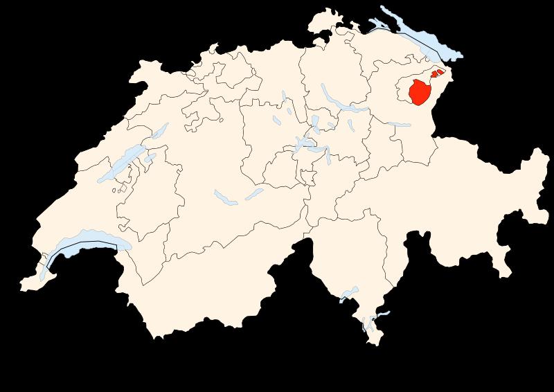 Carte Suisse - Situation d'Appenzell Rhodes-Intérieures