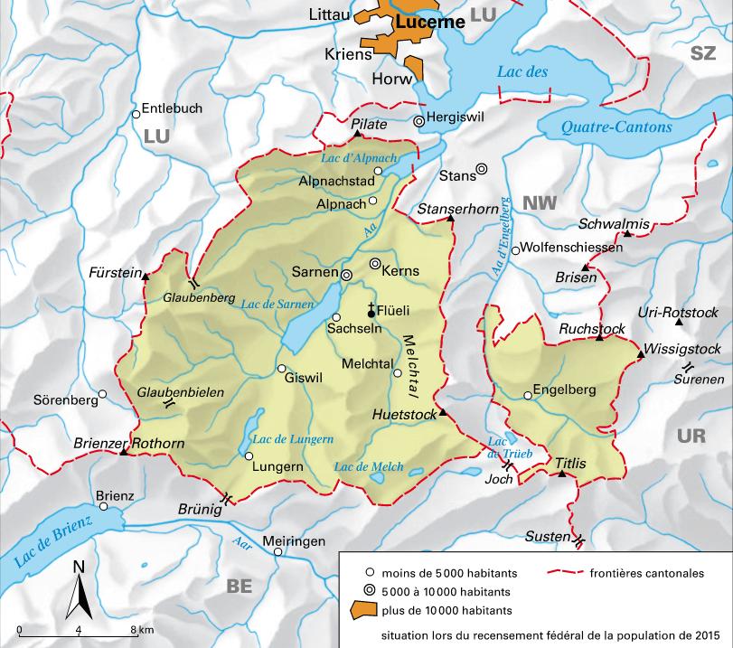 Carte détaillée d'Obwald