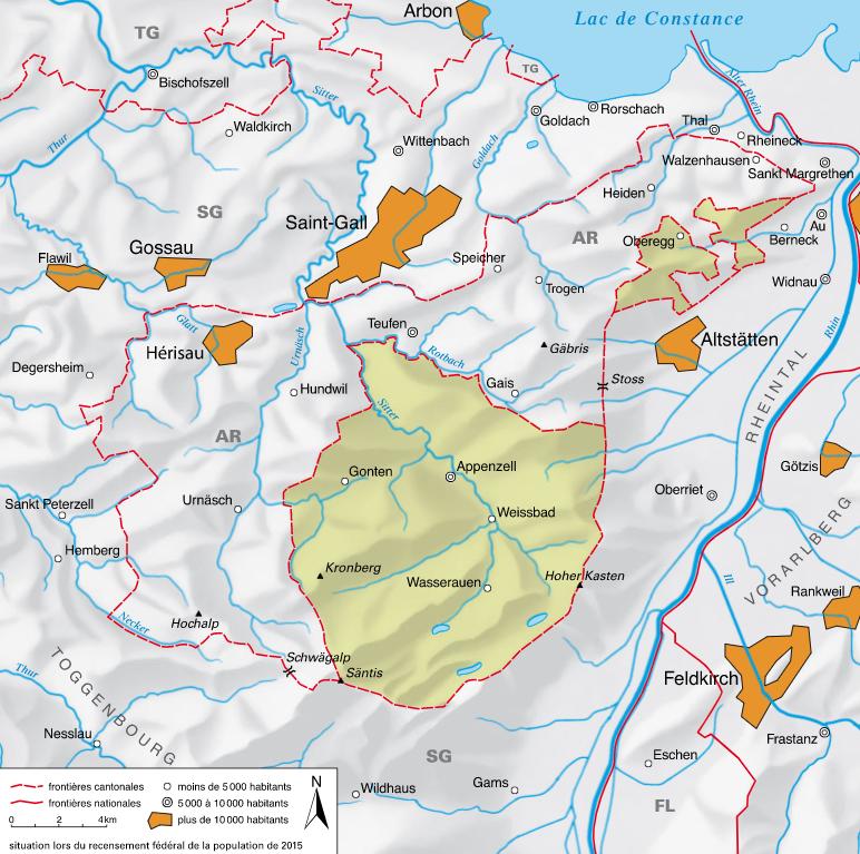 Carte détaillée de Appenzell Rhodes-Intérieures
