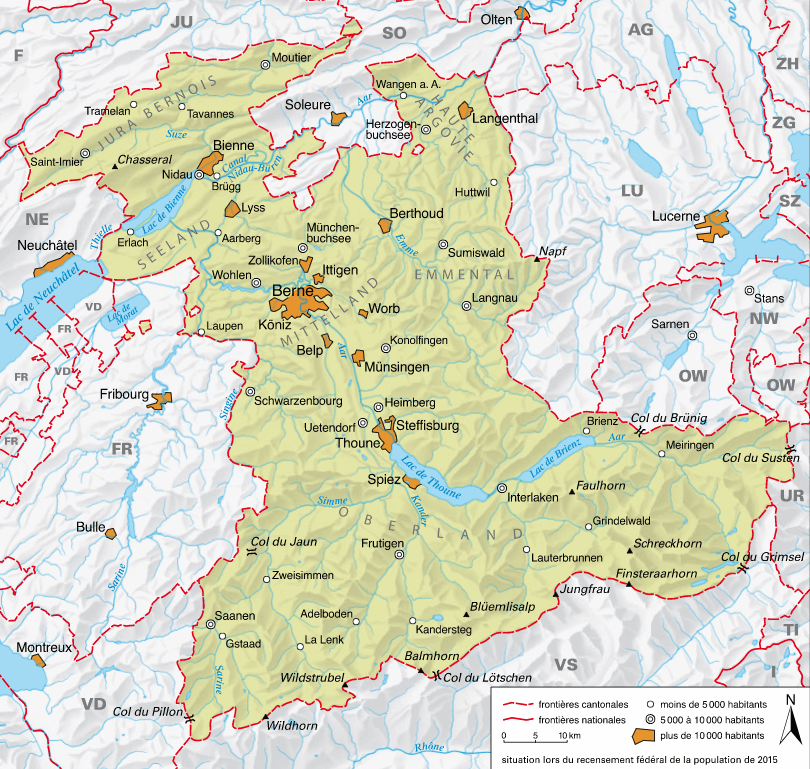 Carte détaillée de Berne