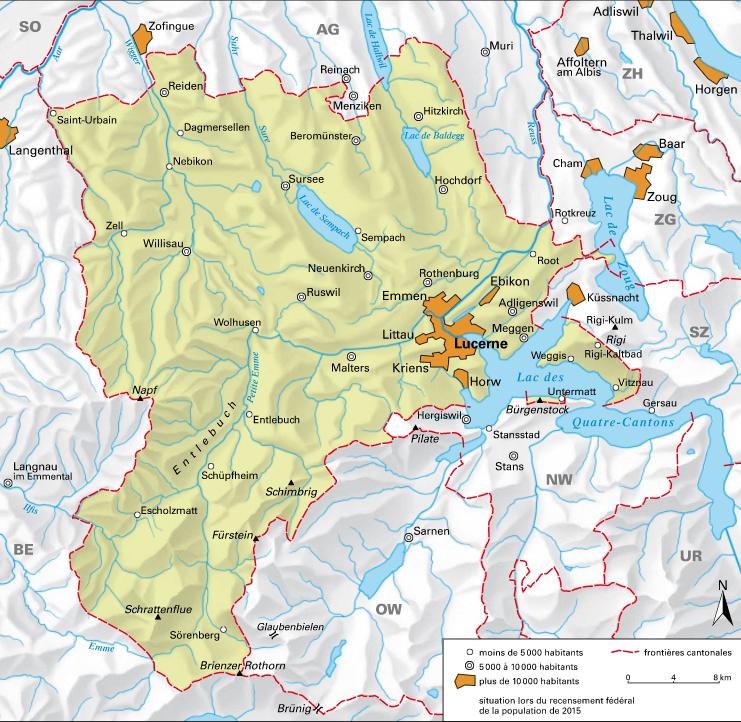 Carte détaillée de Lucerne