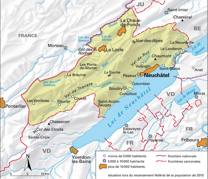 Carte détaillée de Neuchâtel