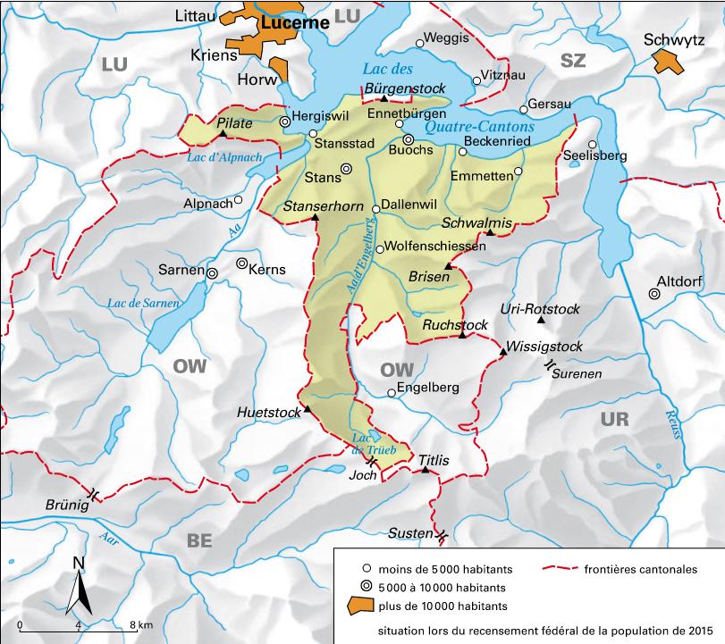 Carte détaillée de Nidwald