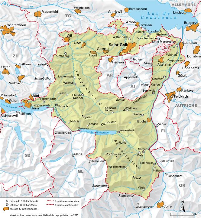Carte détaillée de Saint-Gall