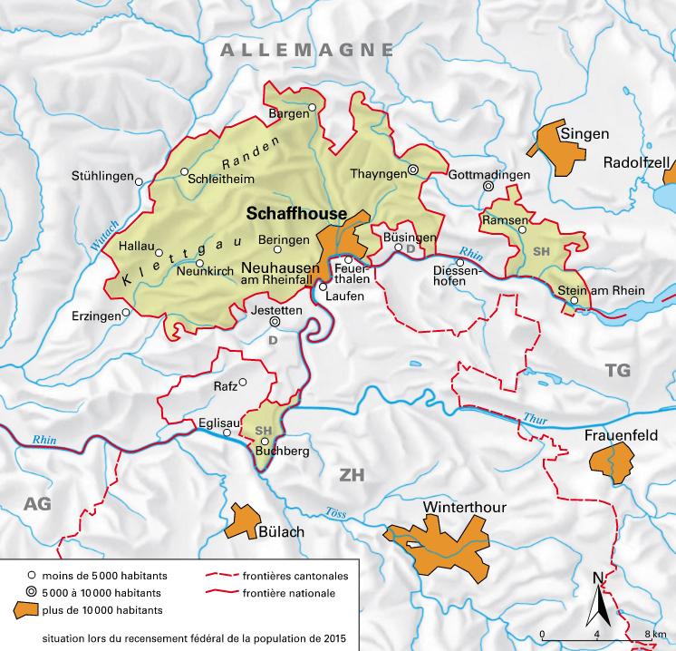 Carte détaillée de Schaffhouse