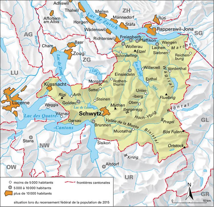 Carte détaillée de Schwytz