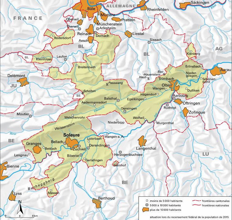 Carte détaillée de Soleure