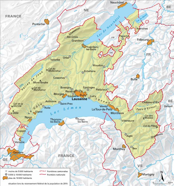 Carte détaillée de Vaud