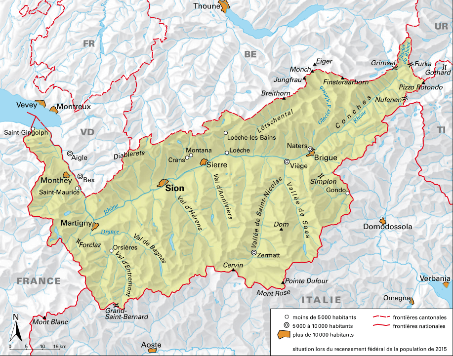 Carte détaillée du Valais