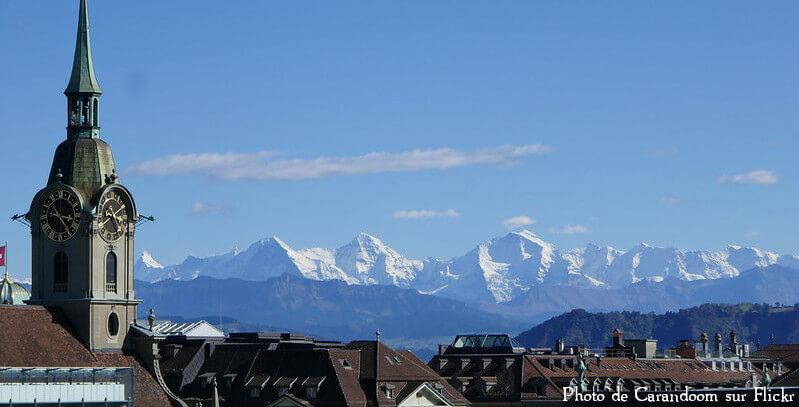 Vue de l'Eiger, le Mönch et la Jungfrau depuis le canton de Berne