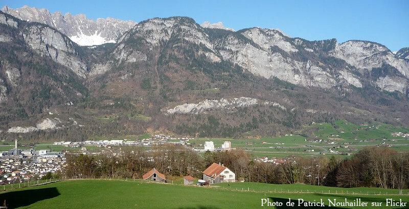 Le village de Flums dans le canton de Saint-Gall