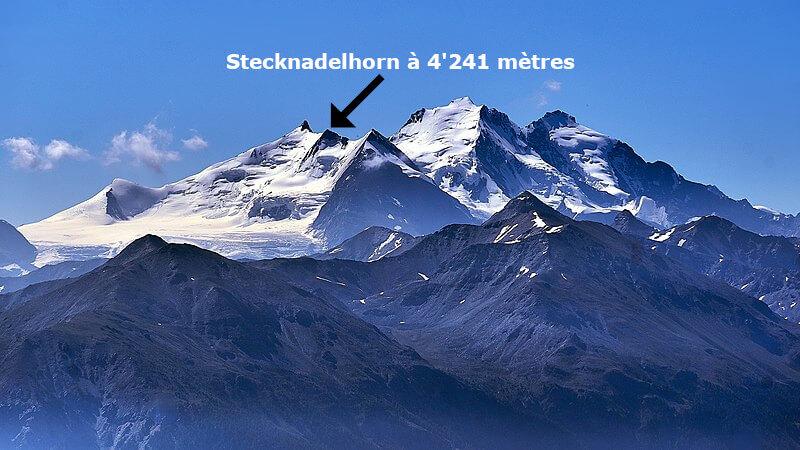 Vue du massif des Mischabels depuis la Gemmi à Leukerbad