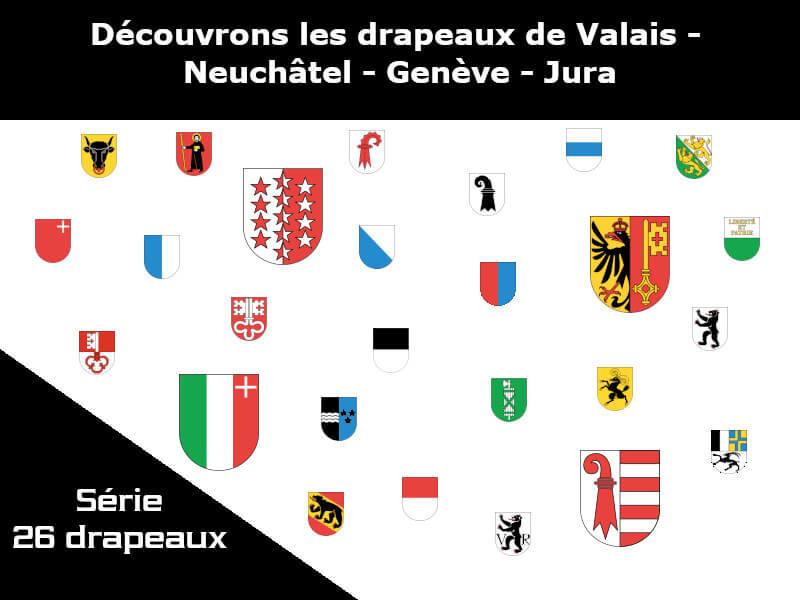 Vignette - Les drapeaux des cantons de Valais - Neuchâtel - Genève - Jura